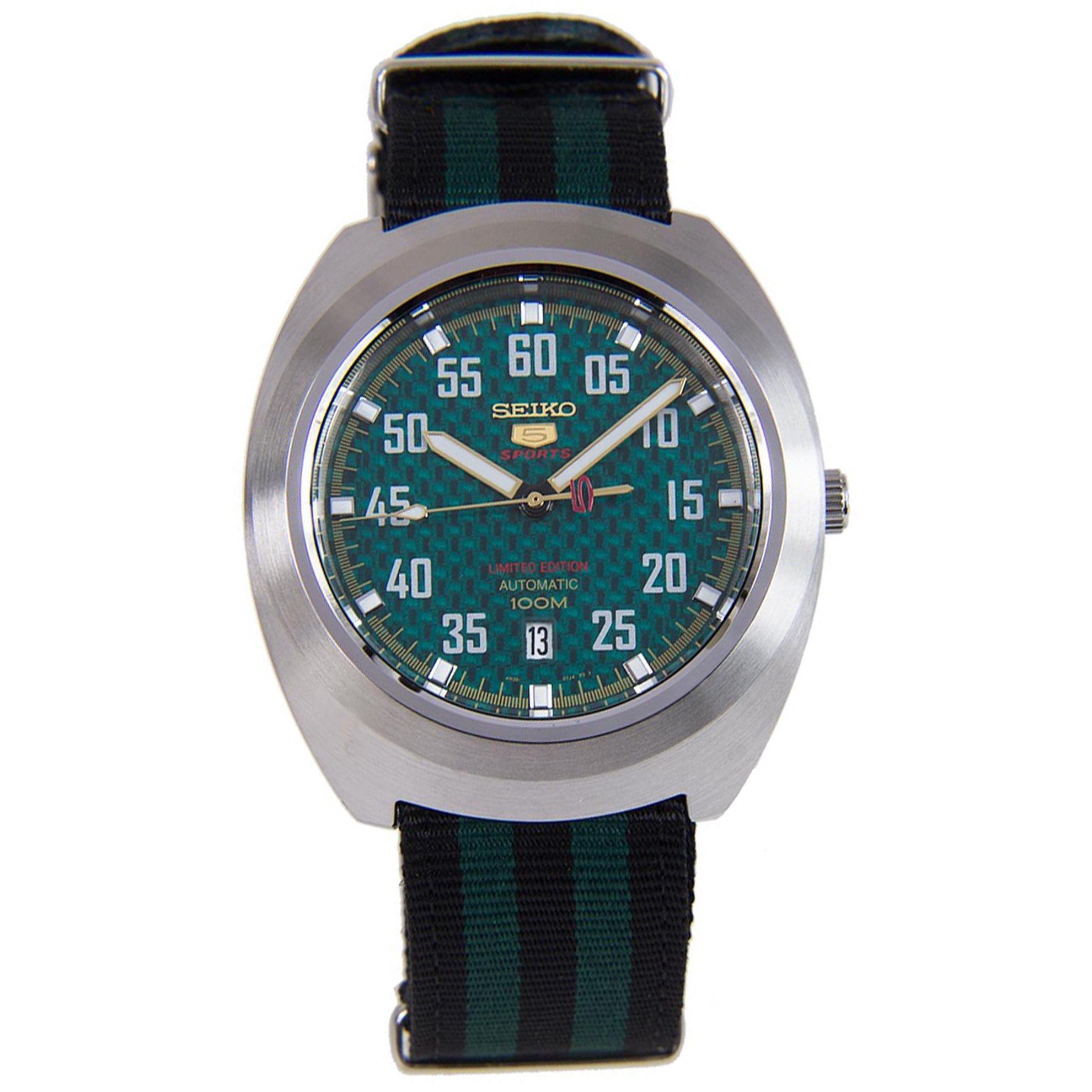 Seiko SE-SRPA89 Seiko Limited Edition Automatic Green Carbon Fiber Dial Black/Green Nato Strap