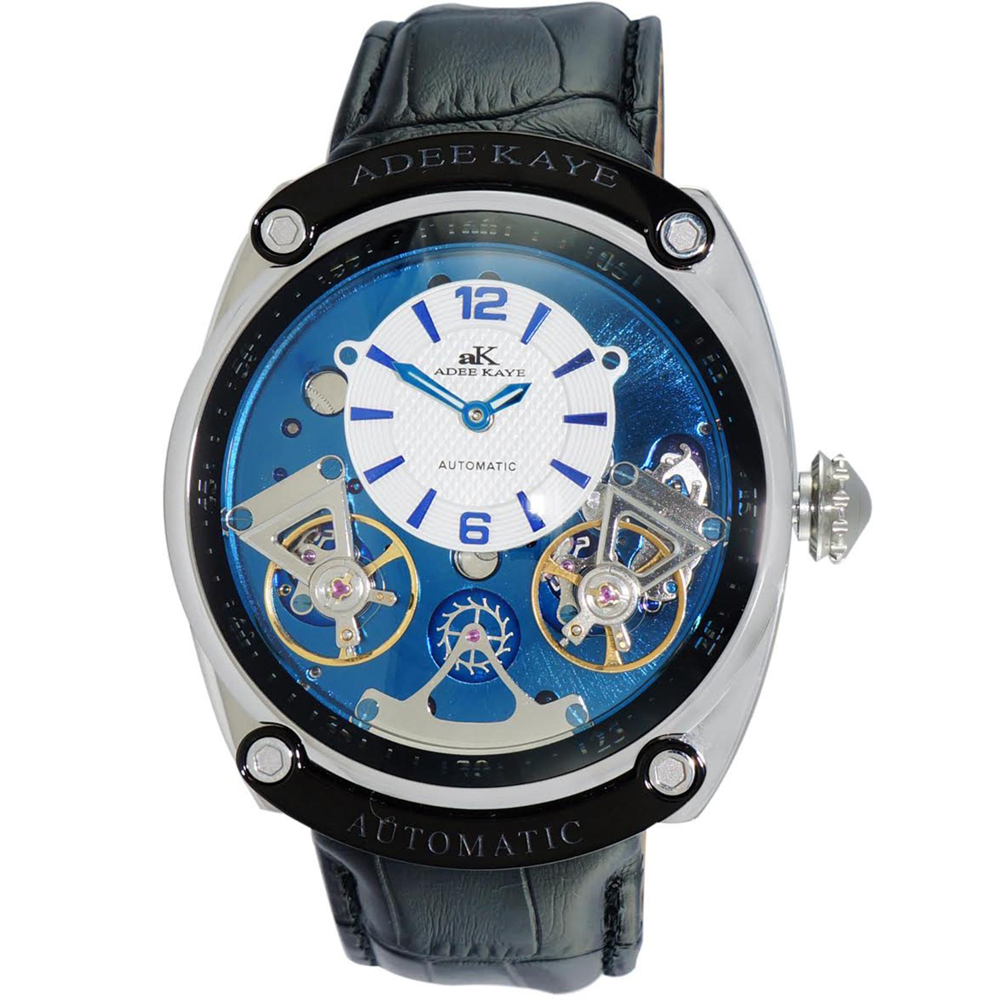 Adee Kaye AK2288-M_BU Adee Kaye of Beverly Hills Double Heartbeat Automatic Blue/Black