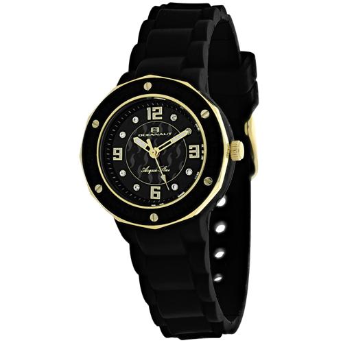 OC0433 Oceanaut Ladies Acqua Star Black-Gold Black Rubber Strap