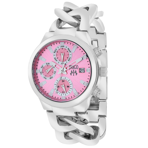 JV1245 Jivago Womens Levley Silver Band Pink Dial