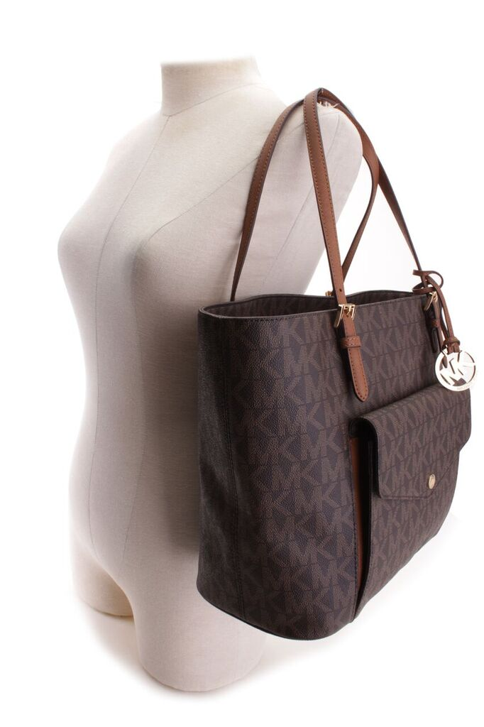 2c653a8c5687 35S6GTTT3BBRNLUGGAGE Michael Kors 35S6GTTT3B-BRN LUGGAGE Handbags JET SET  ITEM LG PKTMF TOTE MSRP 298   Buy It Now 195