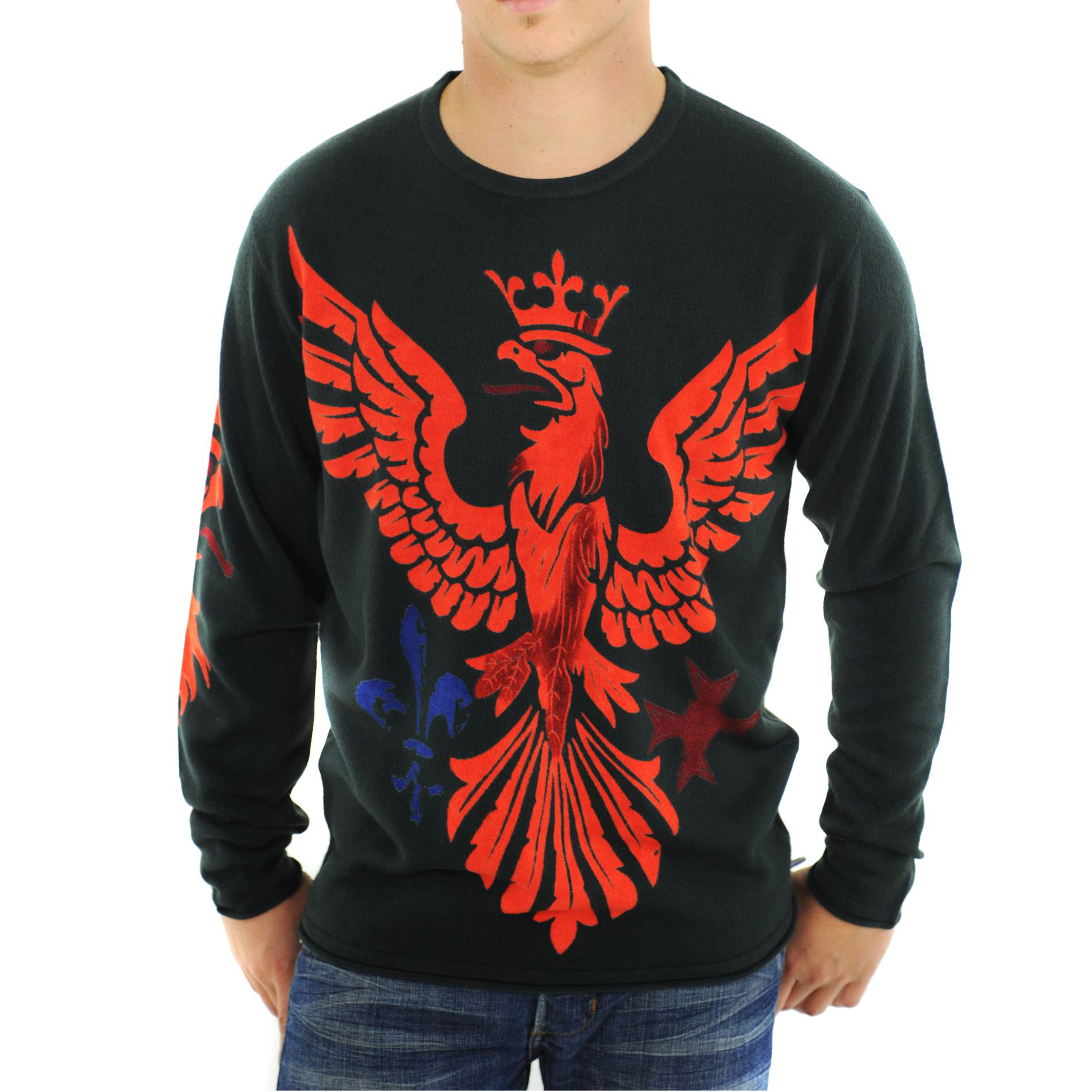 RAW-7 G09H03-RRE Raw7 Men's Black Crewneck Sweater Red Eagle Design