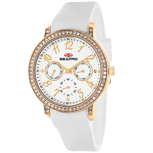 SP4412 Seapro Womens Swell White Band Silver Dial