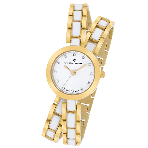CV5612 Christian Van Sant Womens Spiral Two-tone White Gold tone Band White Dial