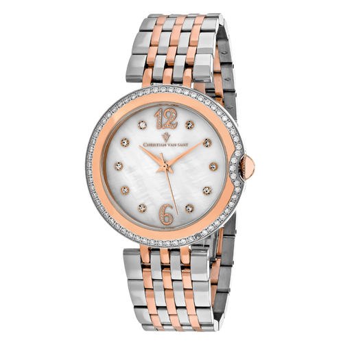 CV1613 Christian Van Sant Womens Jasmine Quartz Two-tone Rose gold and silver tone Band White MOP Dial