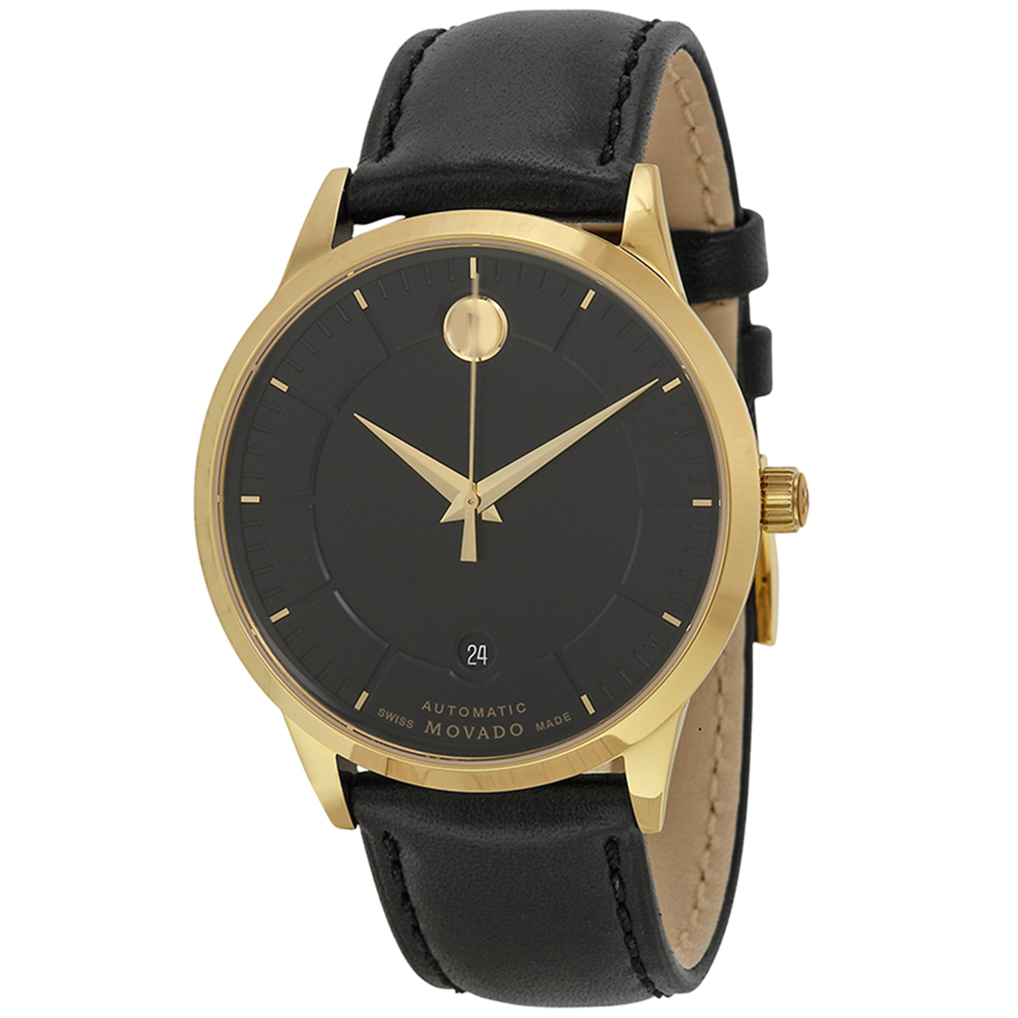 Movado 0606875 Movado 1881 Swiss Automatic Gold Tone Black Dial Leather Strap
