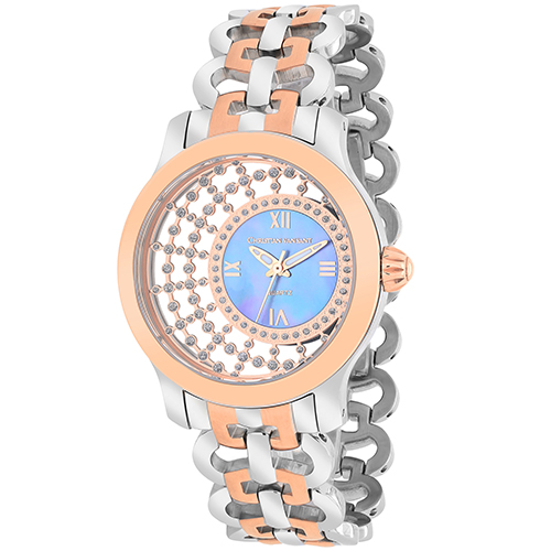 CV4414 Christian Van Sant Womens Delicate Swiss parts quartz  Two-tone Silver & Rose Gold Band Purple MOP Dial