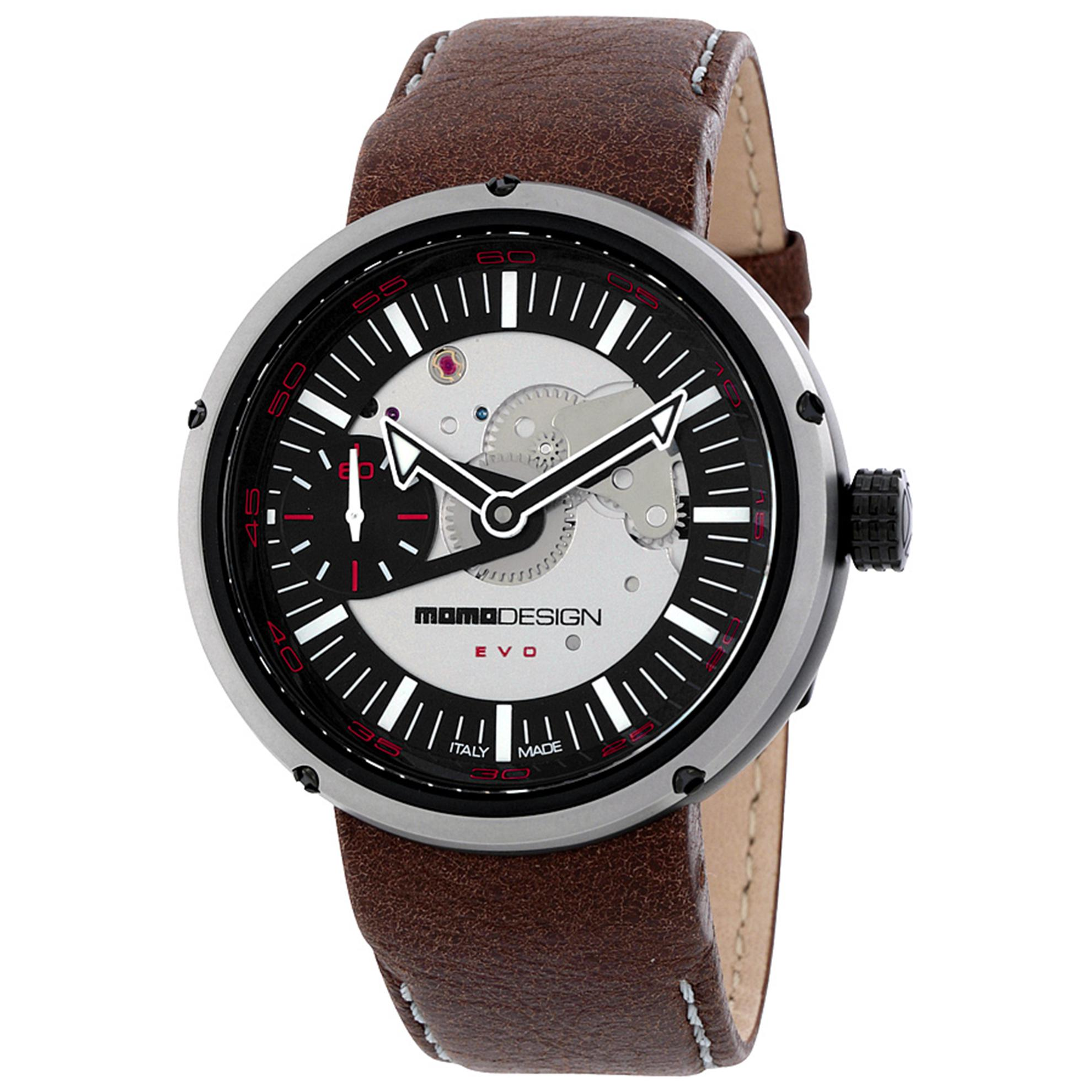 MOMO Design 1010BS-12 MOMO Design Limited Edition Evo Mechanical Automatic Black Dial Brown Leather Strap