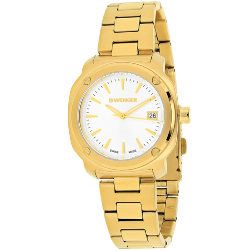 01.1121.107 Wenger Womens Edge Index Gold Band Silver Dial