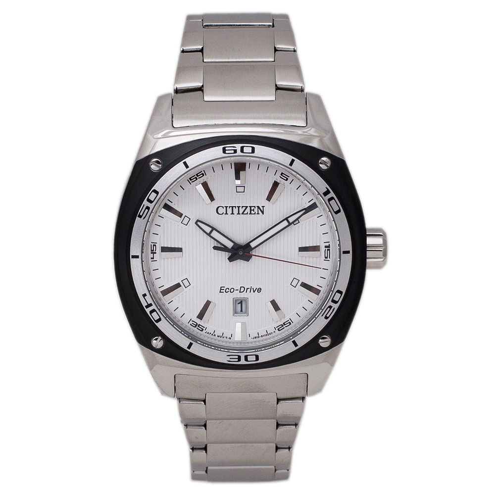 AW1041-53B Citizen Mens Eco-Drive  Quartz Silver Band White Dial
