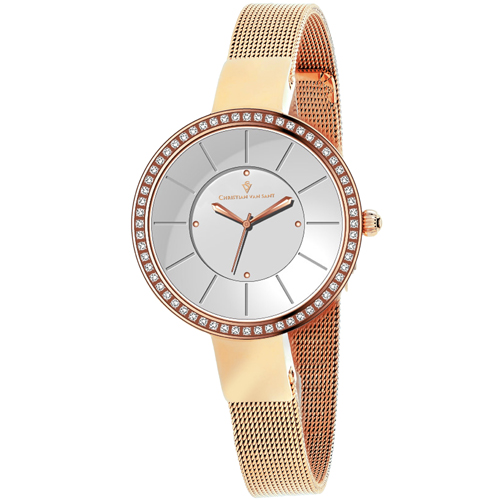 CV0221 Christian Van Sant Womens Reign Rose gold Band Silver Dial