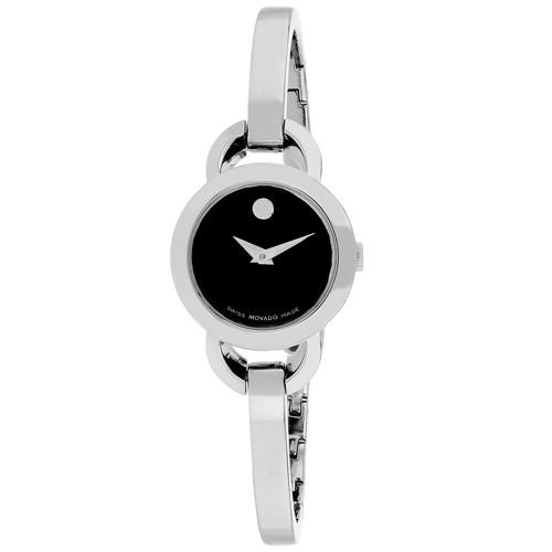 606796 Movado Womens Rondiro 606796 Silver Band Black Dial