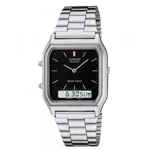 AQ-230A-1D Casio Mens Classic Quartz Silver Band Black Dial