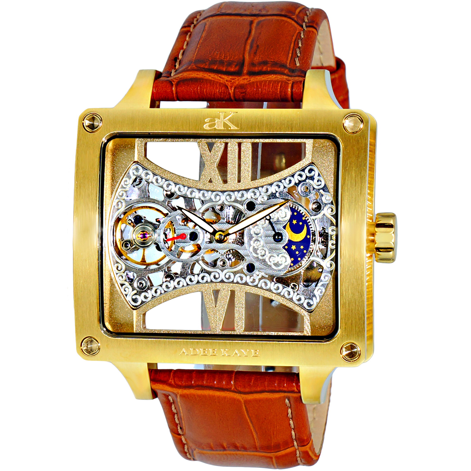 Adee Kaye AK2297-MG Adee Kaye Skeleton 18 Jewels Automatic Moonphase Gold Brown Leather Strap