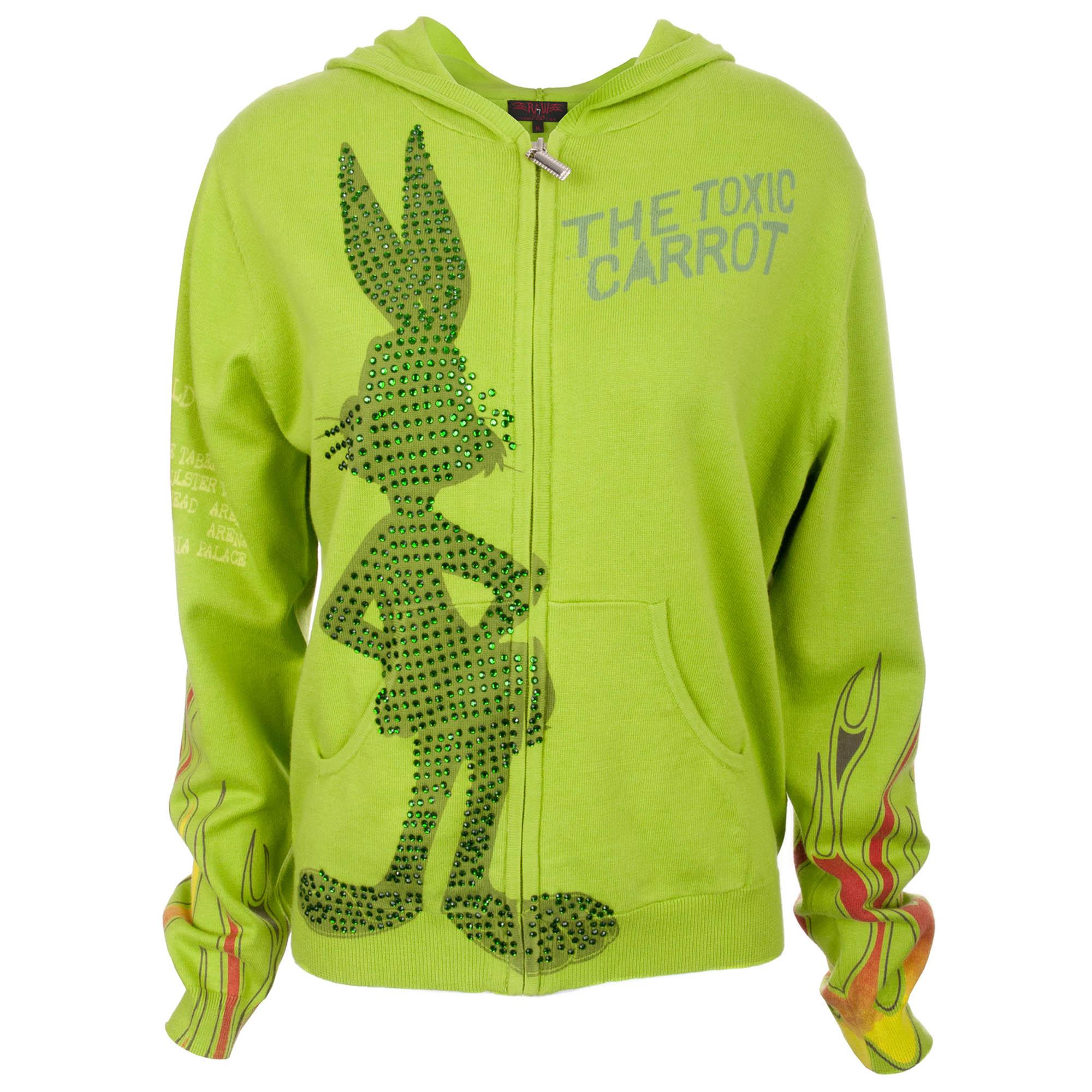 Looney Tunes CT88-Bugs Looney Tunes Women's Apple Green Zip Hoodie Bugs Bunny