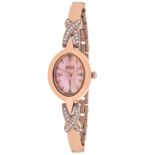 JV3615 Jivago Womens Via Quartz Rose gold Band MOP Pink Dial