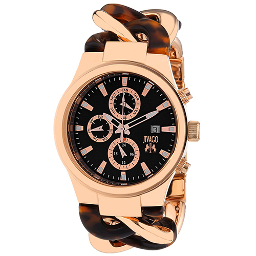 JV1230 Jivago Womens Lev Swiss  Quartz  Two-tone Rose gold Tortoise Band Black Dial