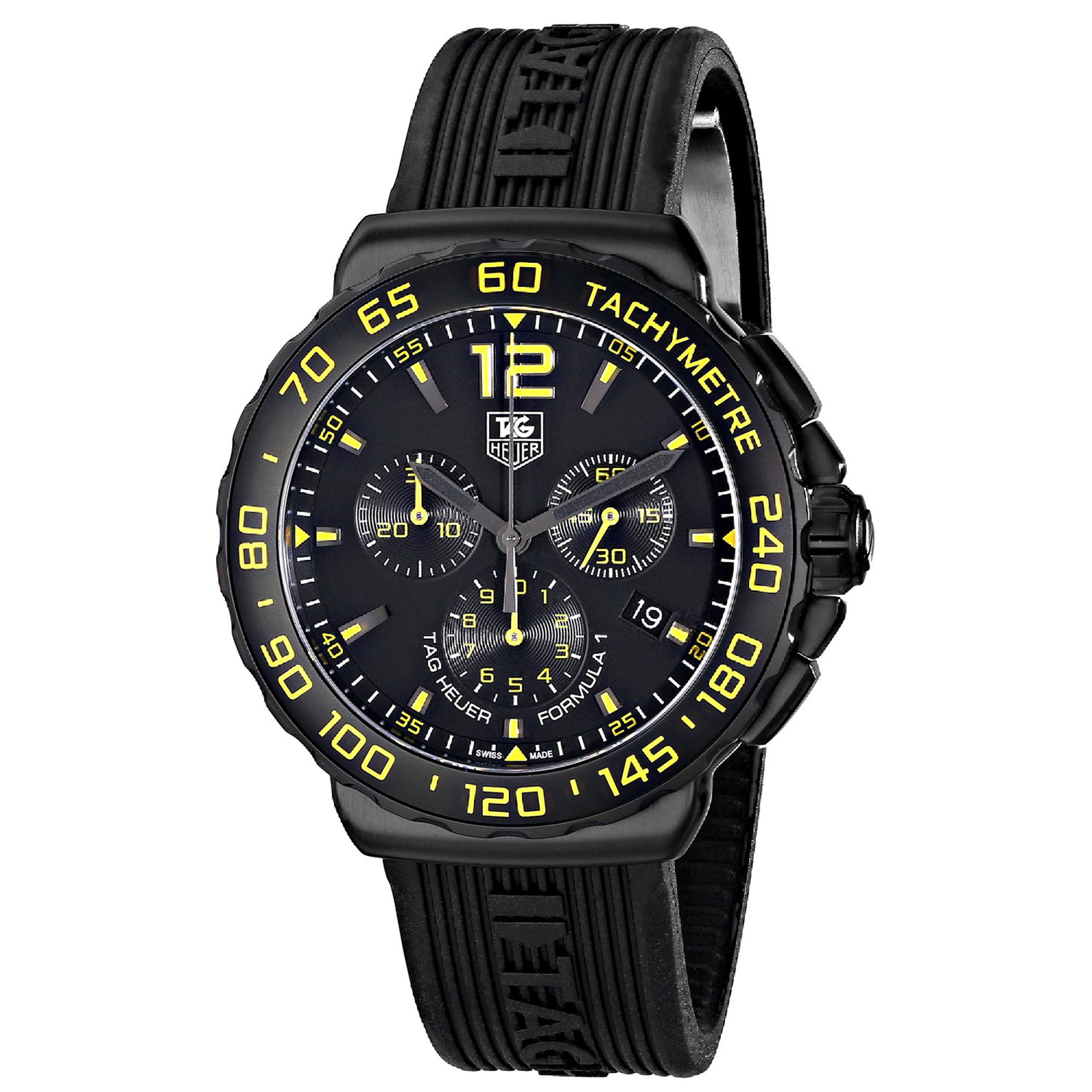Tag Heuer CAU111E.FT6024 TAG Heuer Formula 1 Chrono All Black Steel Coated Titanium Carbide Case Blk/Yel Dial Rubber Strap