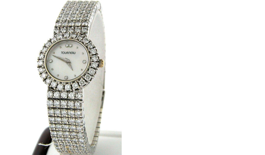 Tourneau Ladies 18k White Gold w approx 260 diamonds - approx 11.0 ct (FVVS2)-
