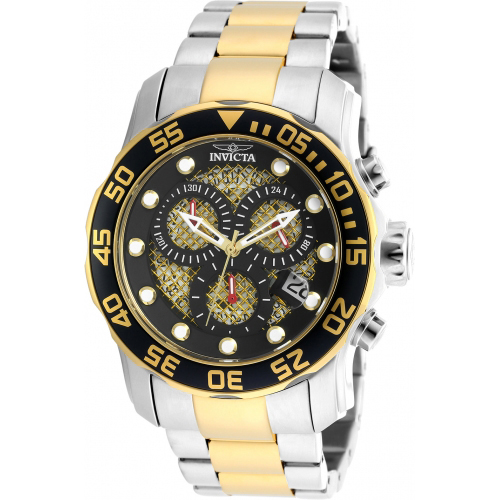 19839 Invicta Mens Pro Diver  Steel, Gold Band Black, Gold Dial