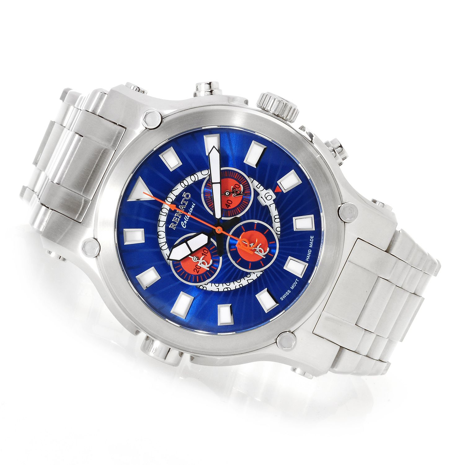 Renato 50CS-B-50CS-5040D Renato Robusto 50 Swiss Chronograph Blue/Orange Dial