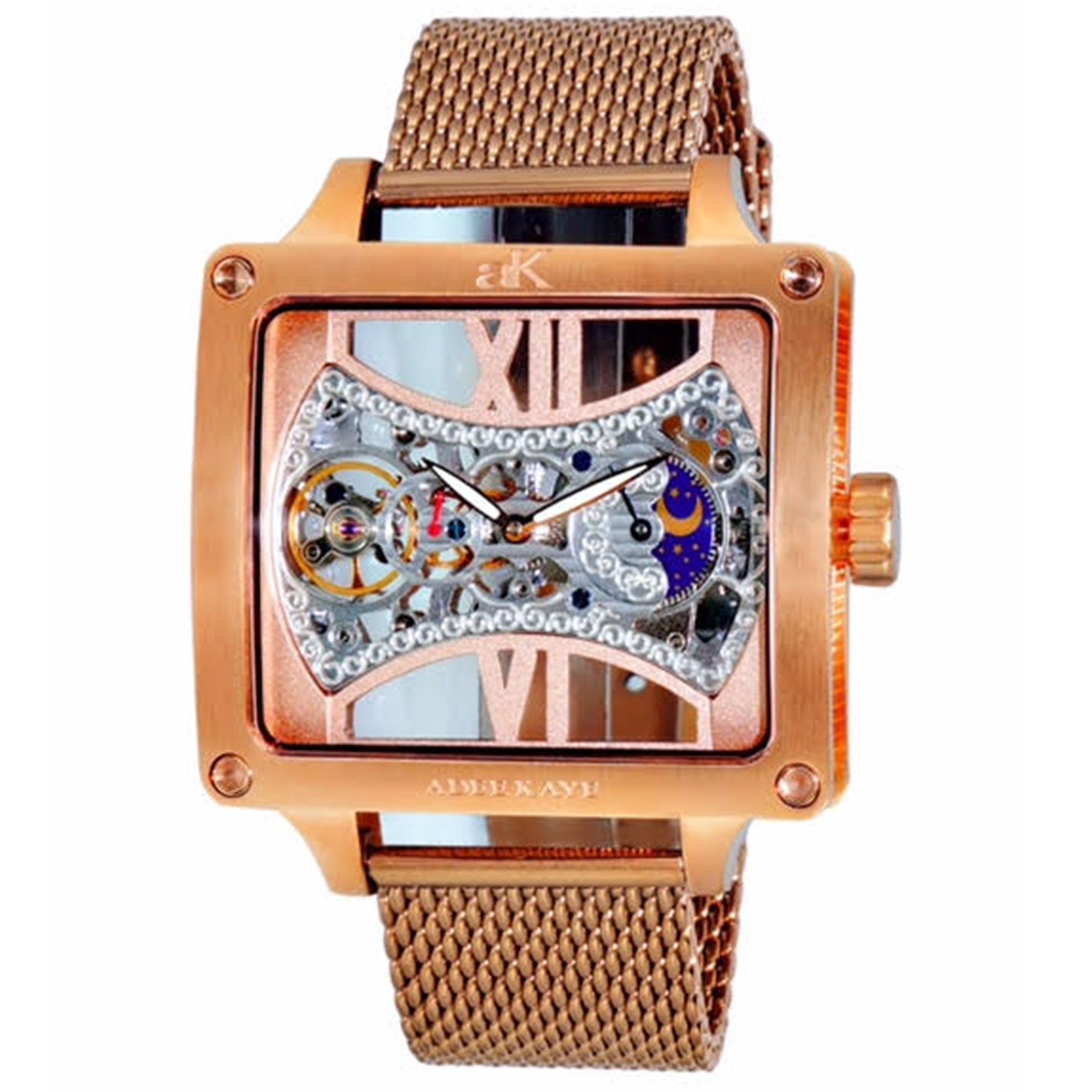 Adee Kaye AK2297-MRG_MESH Adee Kaye Skeleton 18 Jewels Automatic Moonphase Rose Gold Mesh Band