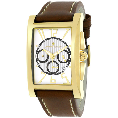 CV4513 Christian Van Sant Gent's Chronograph Gold Tone White Dial Brown Strap