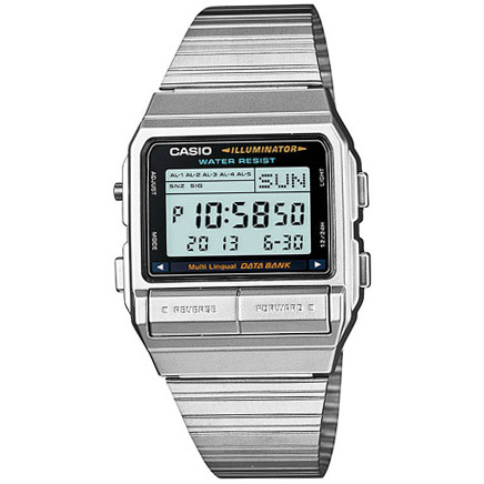 DB-380-1DF Casio Mens Classic Quartz Silver Band Digital Dial