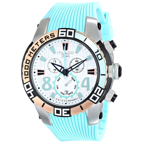 MW1-74197-413 Mulco Mens Fondo wheel Aqua Band Silver Dial
