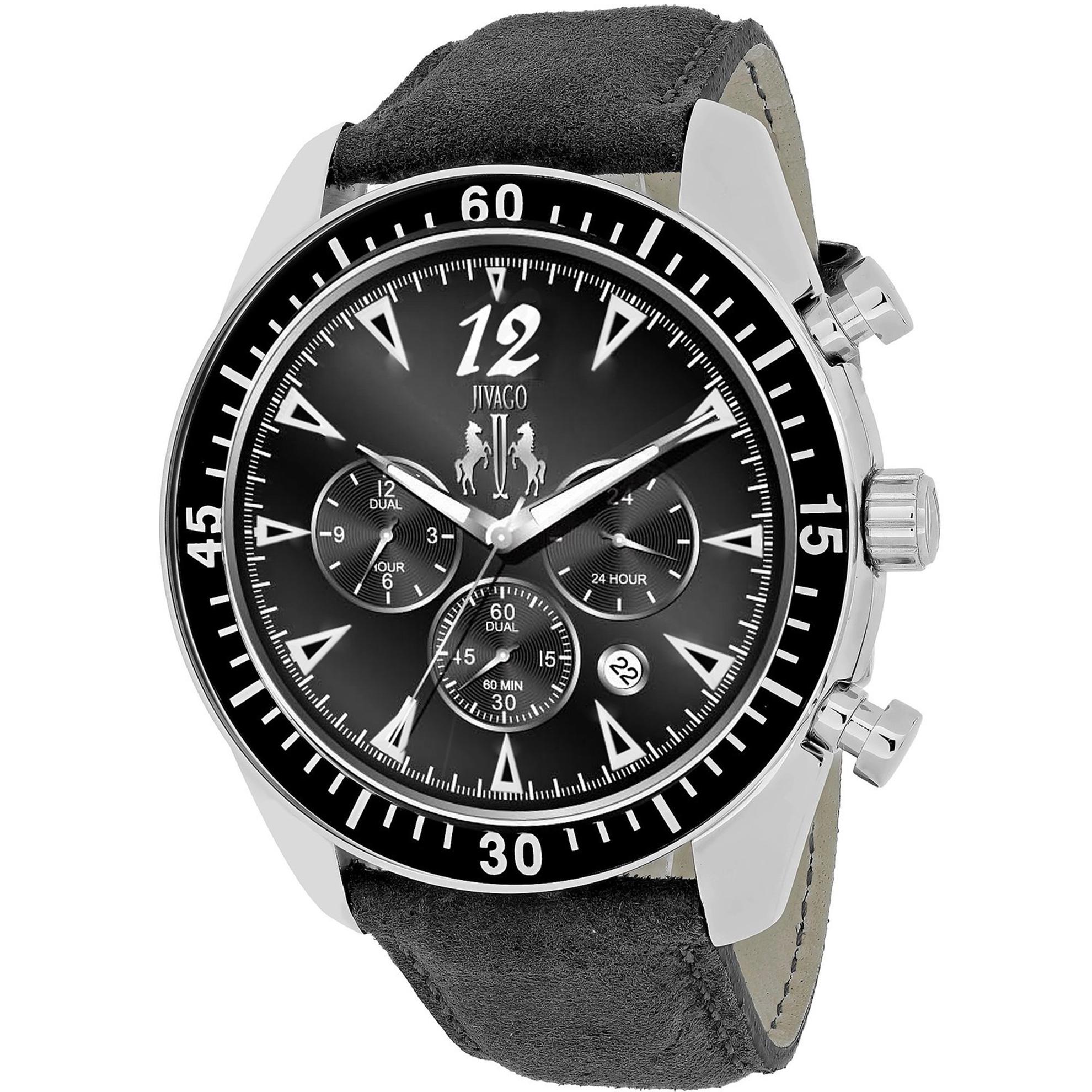 Jivago JV4511 Jivago Men's Timeless Dual Time Black Dial Black Strap