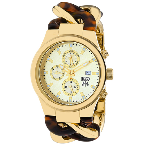 JV1231 Jivago Womens Lev Swiss  Quartz  Two-tone Gold tone Tortoise Band Gold tone Dial
