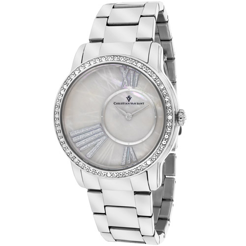 CV3610 Christian Van Sant Womens Exquisite Silver Band White MOP Dial