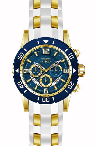 23707 Invicta Mens Pro Diver  White, Gold Band Blue Dial