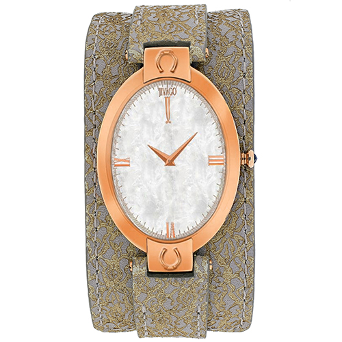JV1832 Jivago Womens Good luck Light Brown Band White MOP Dial