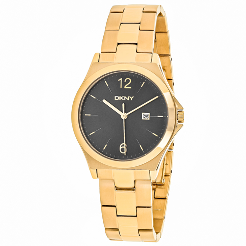 NY2366 DKNY Womens Parsons Quartz Gold Band Black Dial