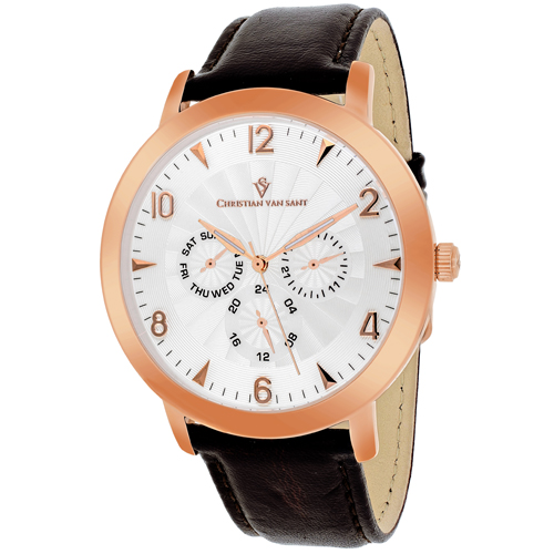CV3514 Christian Van Sant Mens Harper Quartz Dark brown Band Cream Dial