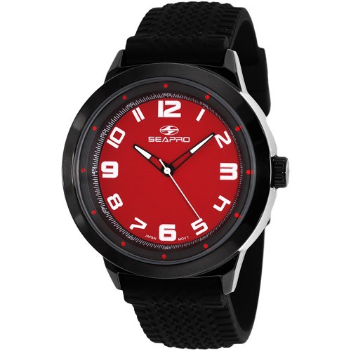 SP3112 Seapro  Mens Wave Black Band Red Dial