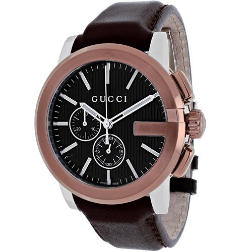 YA101202 Gucci Mens G-Chrono YA101202 Brown Band Black Dial