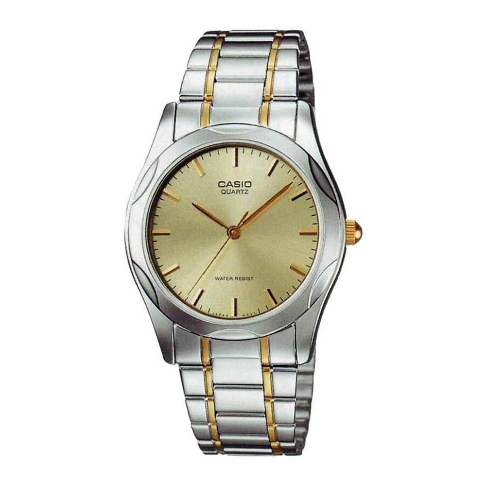 MTP-1275SG-9A Casio Mens Quartz Silver Band Gold Tone Dial