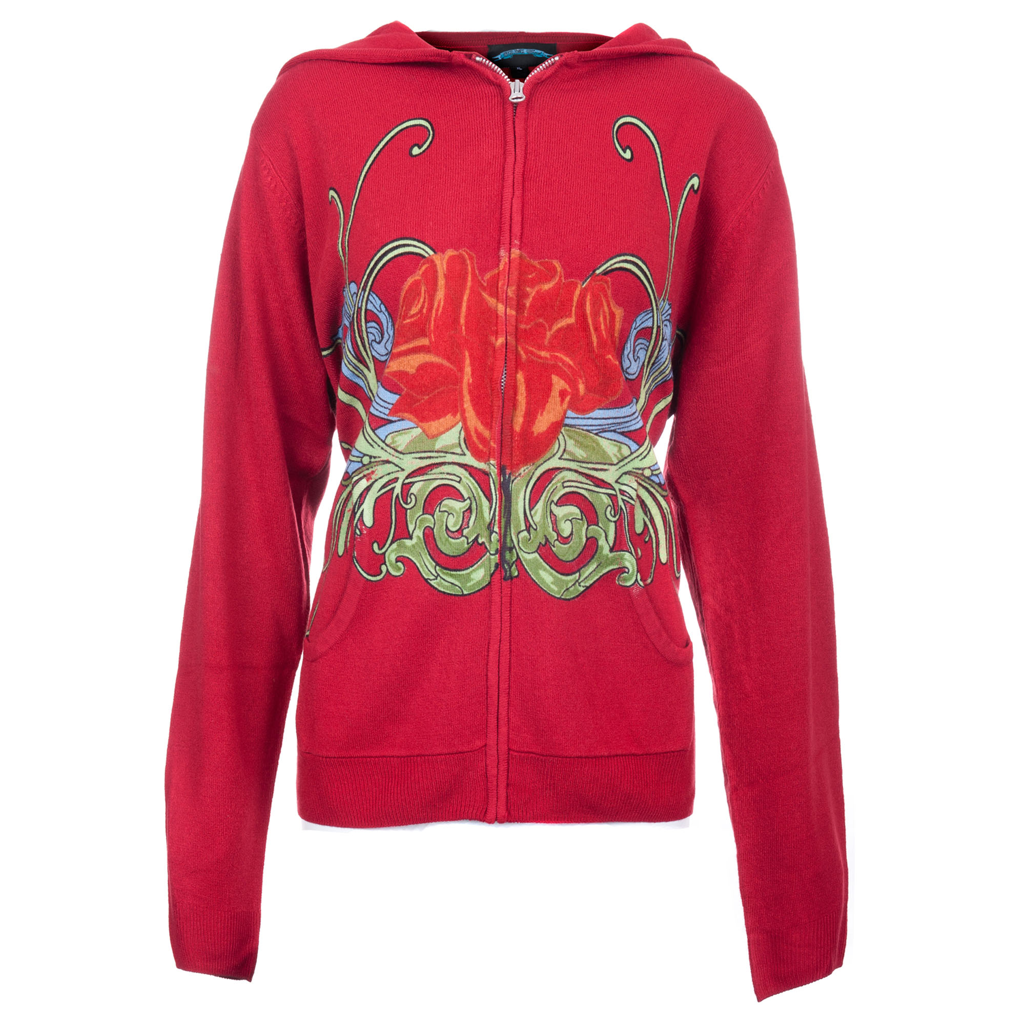 Till The End E09102-RED-SUNRISE Till The End Women's Red Acrylic Zip Hoodie Rose Sunrise Design