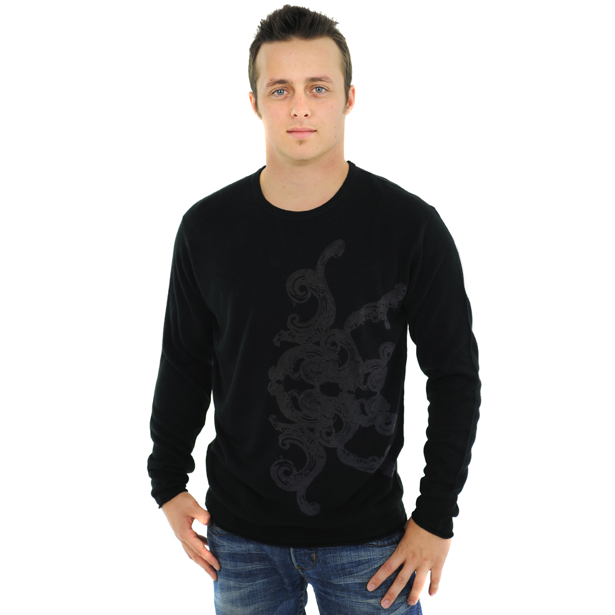 RAW-7 G09H03-KNIGHT RAW7 Men's 100% Acrylic Crewneck Sweater Knight Design - Black