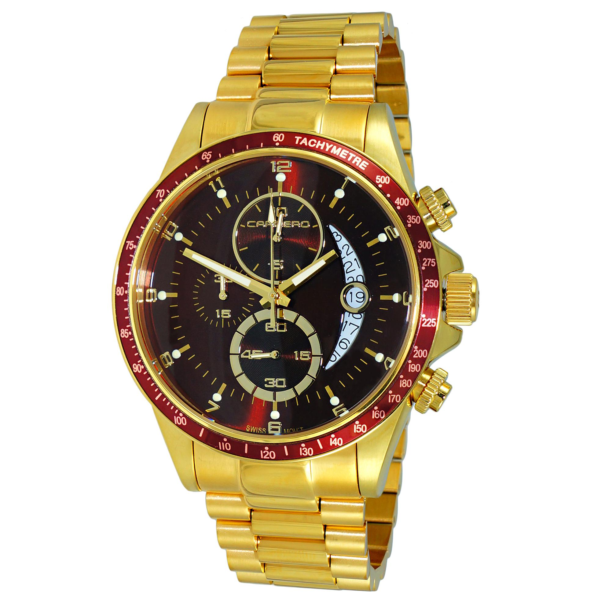 Carrero C1G111MR Carrero Catania R1 Limited Edition Swiss Chronograph All Gold Burgandy Dial