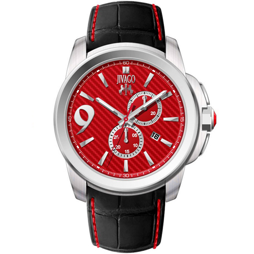 JV1519 Jivago Mens Gliese Black Band Red Dial