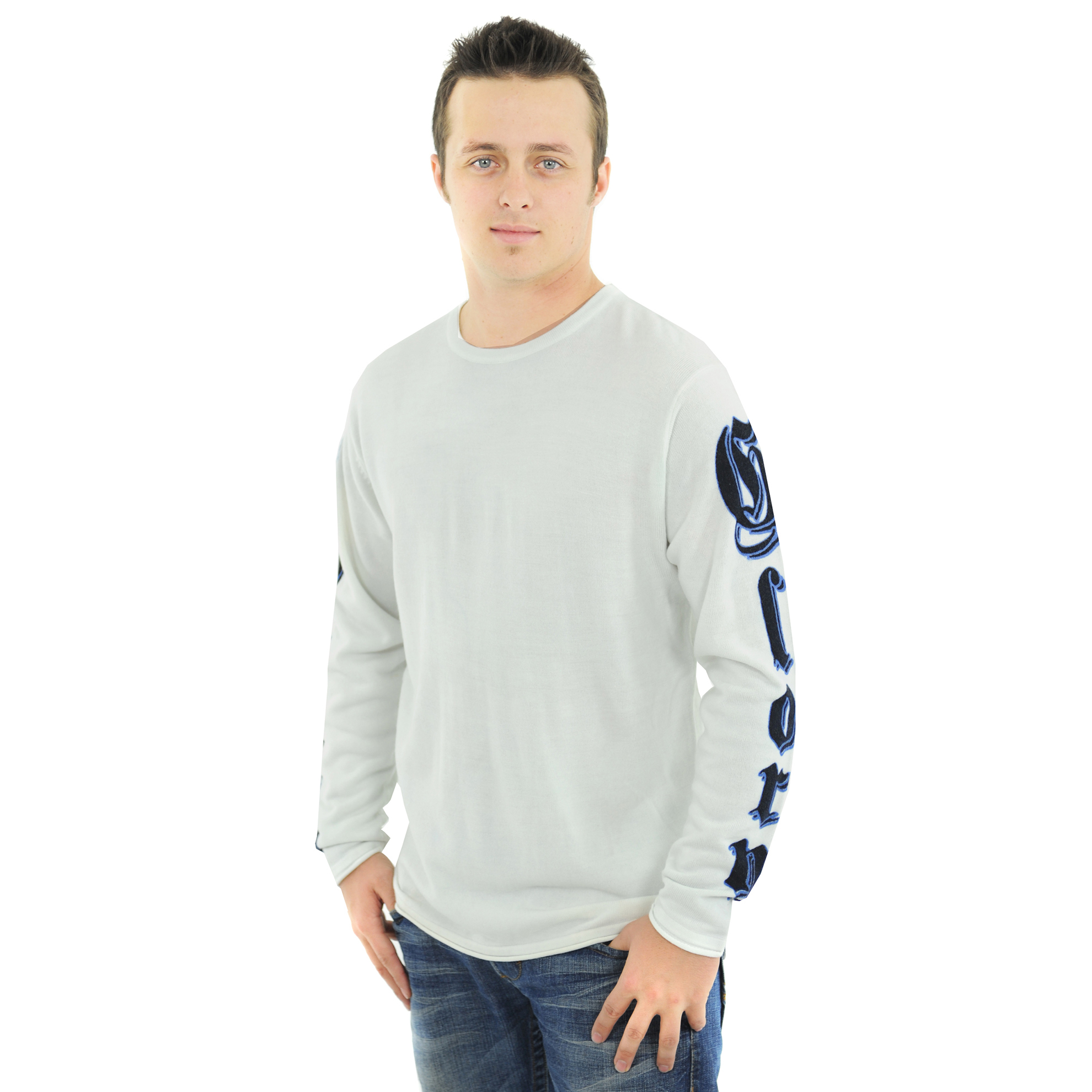 RAW-7 G09H03-IVRY-PANTHER RAW7 Men's 100% Acrylic Crewneck Sweater Panther Design - Ivory