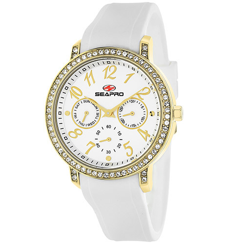 SP4411 Seapro Womens Swell White Band Silver Dial