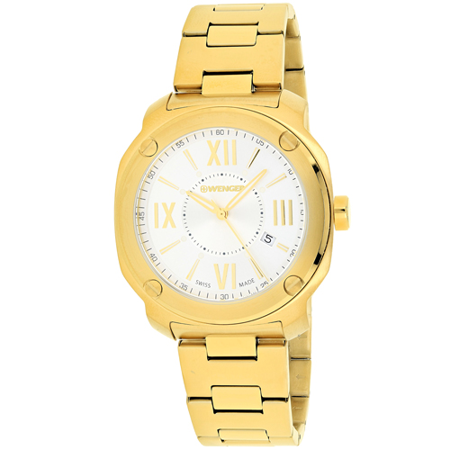 01.1141.122 Wenger Mens Edge Romans Gold Band Silver Dial