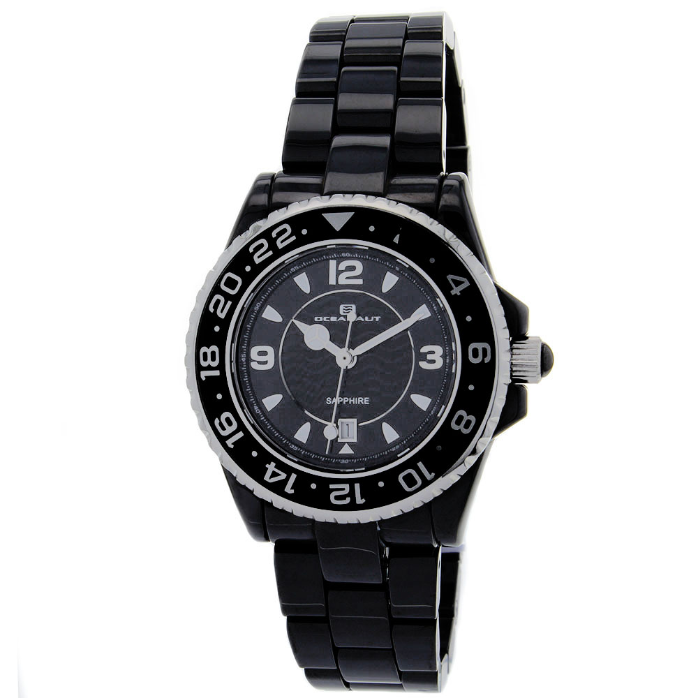 CN1C2601 Oceanaut Womens Ceramic Black Band Black Dial