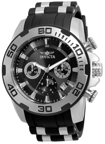 22311 Invicta Mens Pro Diver  Black, Steel Band Black Dial