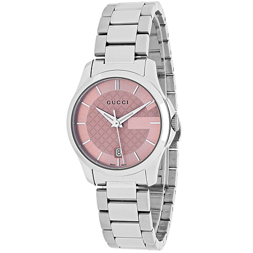 YA126524 Gucci Womens G-Timeless YA126524 Quartz Silver Band Pink Dial
