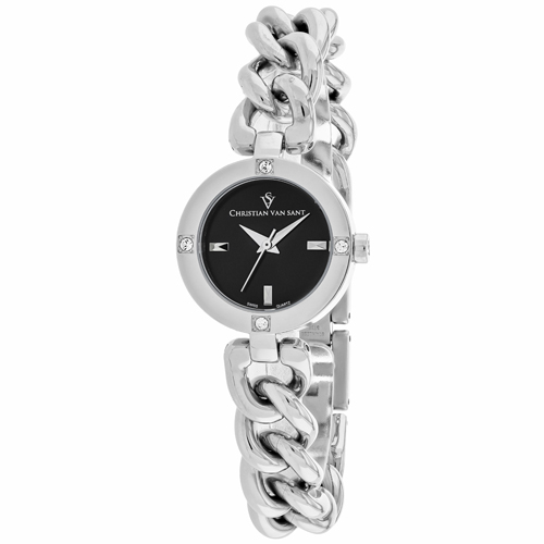CV0211 Christian Van Sant Womens Sultry Silver Band Black Dial